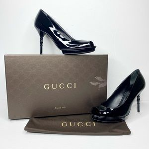 Authentic Gucci Patent Peep-Toe Bamboo Heels
